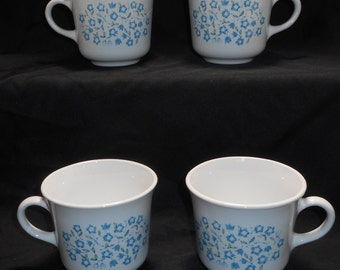 Set of 4 Corning Corelle Blue Heather Cups