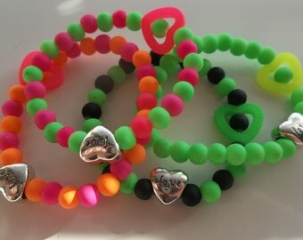 Colorful Kids Bracelets with Hearts- New Rubber- Set of Four-Kids Beaded Stretch Bracelets  (4)
