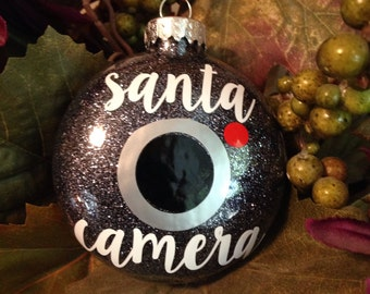 ON SALE  Santa Camera Ornament, Glitter filled, Elf Cam, Christmas,