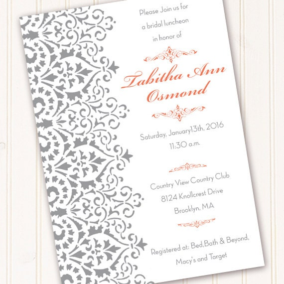 wedding invitations, bridal shower invitations, silver damask and coral wedding invitations, coral and gray bachelorette invitations, IN422