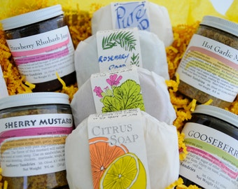 Gift Box - 8 Items - Soap - Jam - Mustard - Handmade & Homegrown -