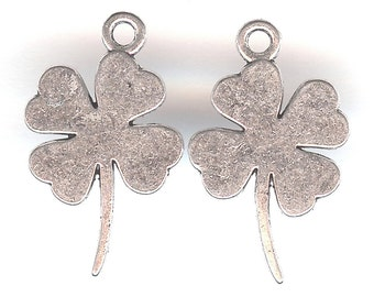 SHAMROCK Charm. Silver Plated. Two Sided.