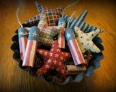 Stars and Fire Cracker Bowl Fillers Primitive Americana Decor Country Decorating