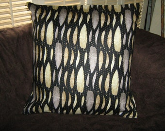 "METALLIC FEATHERS/LEAVES Black Pillow Cover 18"" Andover fabric"
