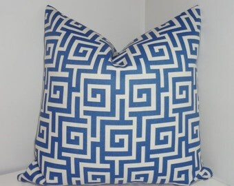 FALL SALE OUTDOOR Blue & White Greek Key Pillow Cover Blue Geometric Porch Decorative Pillow 18x18