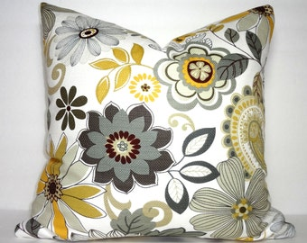Large Yellow Grey Floral Print Pillow Covers Decorative Throw Pillow Covers Yellow Flower Pillow Covers 18x18