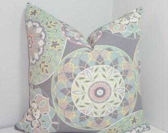 HARVEST SALE OUTDOOR Grey Pink Floral Pillow Cover Mint Aqua Flower Deck Patio Pillow Cover 18x18