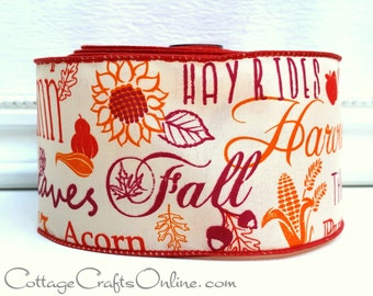"SALE! Fall Wired Ribbon, 2 1/2""  Fall Script Greetings - Ten Yard Roll - ""Autumn Mottos"" Orange, Cranberry Thanksgiving Wire Edged Ribbon"