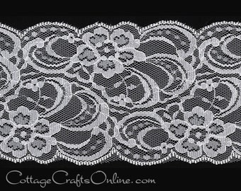 "Lace Ribbon,  3 1/2"" wide, White - THREE YARDS - Offray - ""Layla""  Sewing Trim, Embellishment, Lace Trim"
