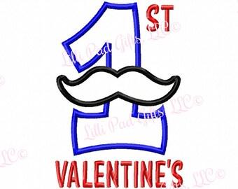 Mustache 1st Valentines - Applique - Machine Embroidery Design - 5 sizes
