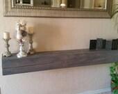 "Gray wash Custom Floating Mantel beam  -  rustic finish - 72""   made to order"