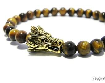 Gemstone Bracelet, Tiger Eye Bracelet, Dragon Bracelet, Mens Bracelet, Mens Beaded Bracelet, Mens Jewelry, Game of Thrones Fan Gift