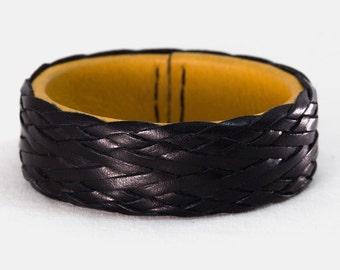 Turks Head Knot Leather Bracelet - Leather Bangle Bracelet - Braided leather jewelry