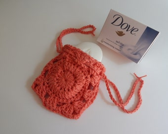 Crochet Soap Holder Bag - Cotton Drawstring Soap Saver - Cantaloupe Melon