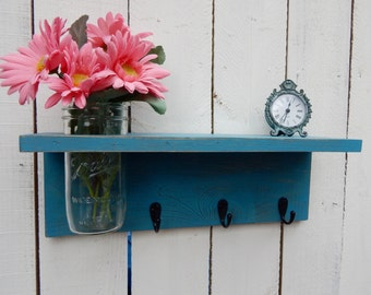 Rustic wood shelf, distressed mason jar decor, Blue/Green  Wall Decor ,cottage beach home decor,wall shelves