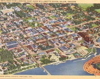 Salem, Oregon, Willamette River - Linen Postcard - Unused (H)