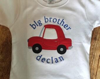 Personalized Big Brother -Big Bro - Sibing Shirt - Long or Short Sleeve - car shirt