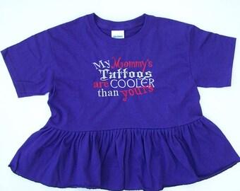 Cooler Tattoos Girl's Tee with Peplum, Girls Tee Shirt with Cooler Tattoos Embroidery & Ruffle