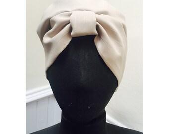 Vintage 1970s Taupe/White Stripe Turban Style Hat