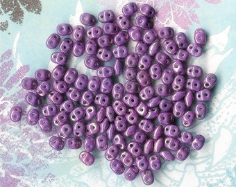 10 grams-2.5x5mm Superduo Luster Lilac Bead,Twin Bead, Superduo Purple, Bead Weaving, Luster Purple Superduo, Two Hole Seed Bead, Vega