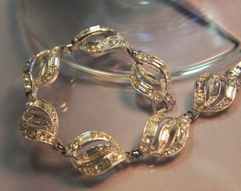 Vintage Wedding Diamond Crystal Rhinestone Designer Bracelet, Authentic Antique Bogoff