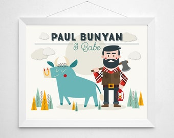 Paul Bunyan Print - wall decor art - Babe the Blue Ox lumberjack forest american folklore nursery camping forest woodland myths Minnesota