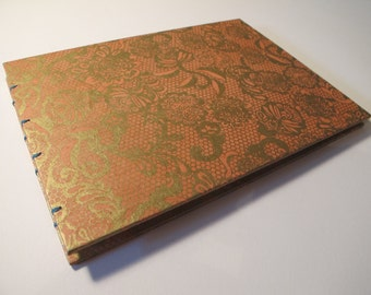 Large Metallic Gold and Blush Guest Book: Lace Papaya and Gold Romantic Wedding Guestbook