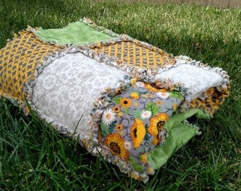 Cheery Golden Yellow and Green Flannel Rag Quilt