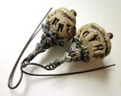 The Message, Please - grungy gothic dark primitive bare ceramic typeface beads, filigree rusty stacked bead caps, black metal earrings
