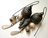 Bad Chemicals - primitive grungy bronze ceramic bead cap, pearl, antique glass trade bead, twirled glass horn, soldered black metal earrings