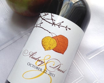 Fall Aspen Leaf Pair - Custom Wine Label