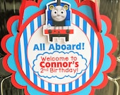 Thomas  the Train Birthday Party Door Sign in Blue and Red