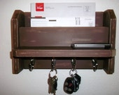 4 Hook Mail & Key Holder..Mail..Keys..Ledge..Leather over Tan...