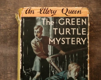 Ellery Queen vintage book The Green Turtle Mystery by Ellery Queen Jr. An Ellery Queen Junior Mystery 1940s vintage book