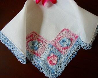 Crocheted Hankie Ladies Vintage Handkerchief Crochet Flowers Handmade