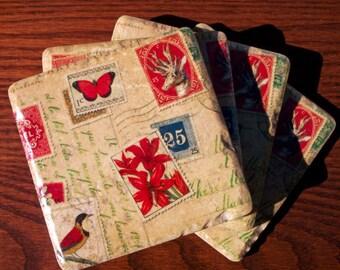 Vintage Christmas Postcard Coasters