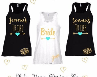 5 Monogrammed Bride Tribe Tank Top Perfect for Bachelorette Parties