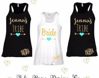 5 Bridesmaid Tank Tops Racerback Personalized Bride Tribe Bachelorette Wedding Shirts Tees Maid of Honor