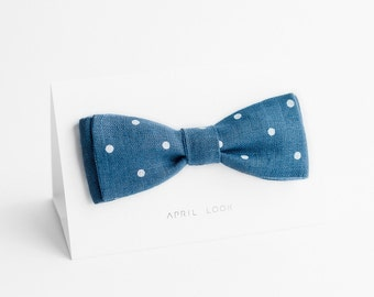 Blue bow tie with white dots, mens bowtie - double sided