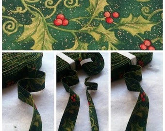 "1/2"" Double Fold Holiday Inspirations Christmas Holly Bias Tape/1"" Binding Bias Binding Tape"