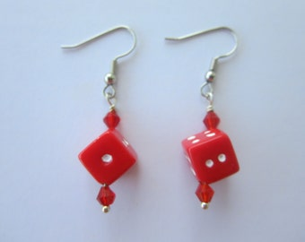 Red Dice Danging Earrings with Red Crystals