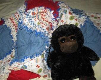 Summer Sale Sale - 33 x 39 Racing Crib Size Rag Quilt