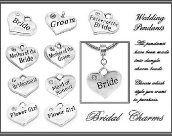 WEDDiNG - BRiDE - GROOM - MoTHER - FaTHER - BRiDESMAID - CHOiCE of Cz HEaRT - DUAL-Sided Dangle Charm Bead - fit European Bracelets - MD-Wed