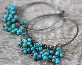 Turquoise Hoop Earrings, Silver Hoops, December Birthstone, Turquoise Jewelry, Blue Beaded Silver Hoop Earrings, Sundance Style Jewelry
