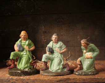 Nativity shepherd pieces, vintage nativity shepherd replacement pieces, Germany and Italy
