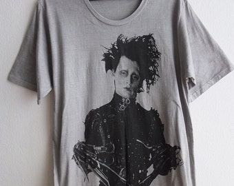Edward Scissorhands Johnny Depp Tim Burton Hand  Printed T-Shirt S or M