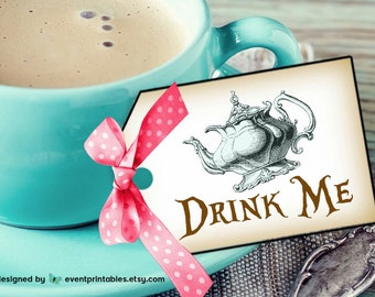 Alice in Wonderland Drink Me Tags, Tea Party Thanksgiving Halloween Vintage Favor Tags, INSTANT DOWNLOAD by Event Printables