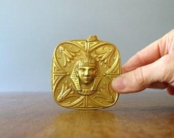 Vintage Miriam Haskell Pendant Gold Tone Egyptian Pharoh Lillies