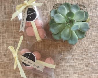 Fruity mango mini bath bombs. 5 per pack