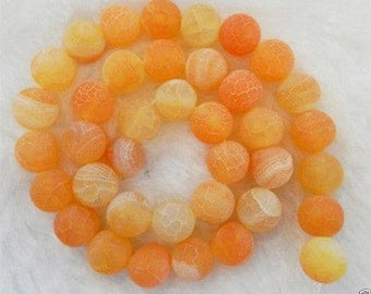 Agate Frosted Beads- Orange- 1/2 strands